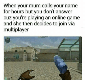 Gonna give it to him by SaltyMarmot5819 FOLLOW HERE 4 MORE MEMES.: When your mum calls your name  for hours but you don't answer  cuz you're playing an online game  and she then decides to join via  multiplayer Gonna give it to him by SaltyMarmot5819 FOLLOW HERE 4 MORE MEMES.