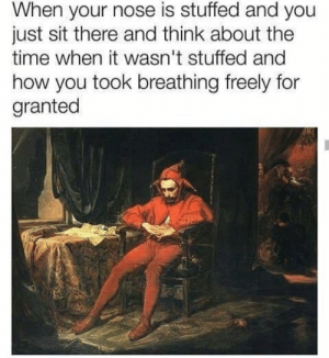 Be Like, Dank, and Memes: When your nose is stuffed and you  just sit there and think about the  time when it wasn't stuffed and  how you took breathing freely for  granted It really do be like that too by ReeRuns FOLLOW HERE 4 MORE MEMES.