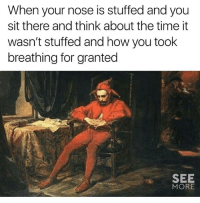 @see_more has great memes 🔥: When your nose is stuffed and you  sit there and think about the time it  wasn't stuffed and how you took  breathing for granted  SEE  MORE @see_more has great memes 🔥