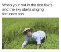 Charlie's in the the trees.: When your out in the rice fields  and the sky starts singing  fortunate son Charlie's in the the trees.
