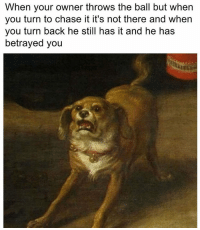 Chase, Classical Art, and Back: When your owner throws the ball but when  you turn to chase it it's not there and when  you turn back he still has it and he has  betrayed you Y owner