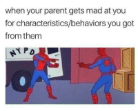 Characteristics: when your parent gets mad at you  for characteristics/behaviors you got  from them