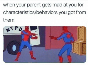 Memes, Relatable, and Mad: when your parent gets mad at you for  characteristics/behaviors you got from  them  HYPD A dump dedicated to relatable memes