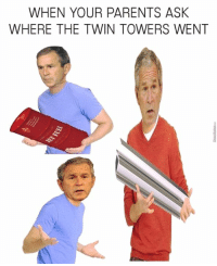 behind a bush?: WHEN YOUR PARENTS ASK  WHERE THE TWIN TOWERS WENT behind a bush?