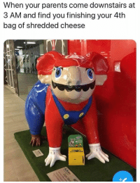 Parents, Cheese, and You: When your parents come downstairs at  3 AM and find you finishing your 4th  bag of shredded cheese