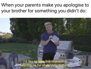 When Your Parents: When your parents make you apologise to  your brother for something you didn't do:  l'd like to take this moment to  apologize for absolutely nothing
