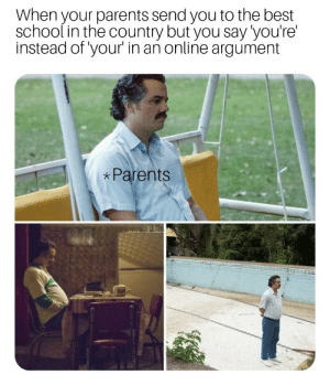 Parents, School, and Best: When your parents send you to the best  school in the country but you say'you're  instead of your in an online argument  Parents Disappointment