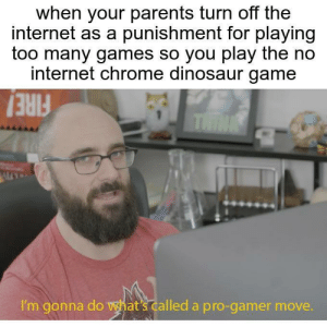 pro gamer: when your parents turn off the  internet as a punishment for playing  too many games so you play the no  internet chrome dinosaur game  THINK  I'm gonna do wat's called a pro-gamer move. pro gamer
