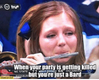 bard: When your party is getting killed  NC STATE  71 MARCH MADNES  68 VILLANOVA  but you're just a Bard  BUR  STARECAT COM