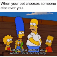 Funny, Love, and Smh: When your pet chooses someone  else over you  Let that be a lesson to you,  sweetie. Never love anything That's a heart breaking moment smh