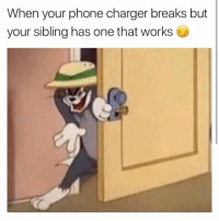 Phone, Charger, and One: When your phone charger breaks but  your sibling has one that works 😈