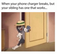 Phone, Charger, and One: When your phone charger breaks, but  your sibling has one that works..
