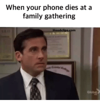 Funny, Globalization, and Mess: When your phone dies at a  family gathering  Hood clips.com  Global Lmao damn i messed up lol hoodclips comedy HoodComedy
