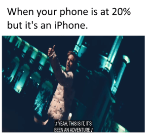 Iphone, Phone, and Reddit: When your phone is at 20%  but it's an iPhone.  YEAH, THIS IS IT, ITS  BEEN AN ADVENTURE Does anyone have an iPhone charger