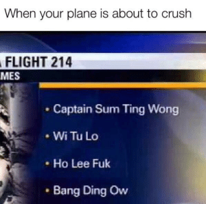 3rd down: When your plane is about to crush  FLIGHT 214  MES  Captain Sum Ting Wong  Wi Tu Lo  Ho Lee Fuk  Bang Ding Ow 3rd down