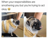 Memes, Responsibility, and 🤖: When your responsibilities are  smothering you but you're trying to act  okay  Nownase Prankscomm His eyes 😆  Like our page for MORE funny pics! => OwnagePranks