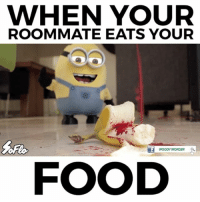 WHO LOVES THE MINIONS?⠀ 😂😭😂😭😂😭😂😭😂😭😂😭⠀ With: @woody_wonder: WHEN YOUR  ROOMMATE EATS YOUR  wooDY WONDER  FOOD WHO LOVES THE MINIONS?⠀ 😂😭😂😭😂😭😂😭😂😭😂😭⠀ With: @woody_wonder