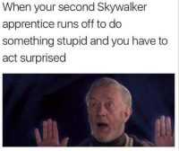 apprentice: When your second Skywalker  apprentice runs off to do  something stupid and you have to  act surprised
