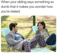 Dumb, Wonder, and How: When your sibling says something so  dumb that it makes you wonder how  you're related