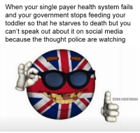(LC): When your single payer health system fails  and your government stops feeding your  toddler so that he starves to death but you  can't speak out about it on social media  because the thought police are watching  BEING LIBERTARIAN (LC)