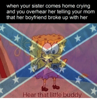 Crying, Home, and Boyfriend: when your sister comes home crying  and you overhear her telling your mom  that her boyfriend broke up with her  Hear that little buddy roll tide