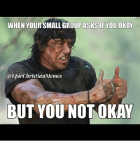 WHEN YOUR SMALL GROUP ASKS IF YOU OKAY  a EpicChristianMemes  BUT YOU NOT OKAY <p>Lol! Reblog this :)</p>