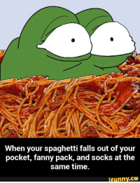 Spaghetti Falls Out: When your spaghetti falls out of your  pocket, fanny pack, and socks at the  same time.  ifunny.CO