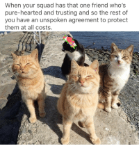 Squad, Rest, and One: When your squad has that one friend who's  pure-hearted and trusting and so the rest of  you have an unspoken agreement to protect  them at all costs