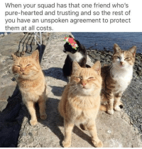 Squad, Rest, and One: When your squad has that one friend who's  pure-hearted and trusting and so the rest of  you have an unspoken agreement to protect  them at all costs. <p>At all costs</p>