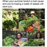 Oprah Winfrey, Lost, and Summer: When your summer body's a lost cause  and you're hoping a week of salads will  save you *oprah voice* i LOOOVE bread @gaybestfriend