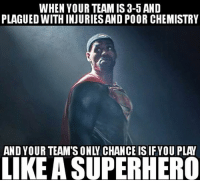 Nba, Superhero, and Lebron: WHEN YOUR TEAM IS 3-5 AND  PLAGUED WITH INJURIES AND POOR CHEMISTRY  AND YOUR TEAM'S ONLV CHANCE IS IFYOU PLAY  LIKE A SUPERHERO It's all on LeBron now...
