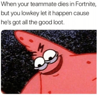 Savage, Good, and Dank Memes: When your teammate dies in Fortnite,  but you lowkey let it happen cause  he's got all the good loot Savage 😂