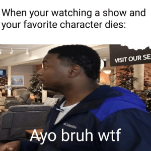 Me irl: When your watching a show and  your favorite character dies:  VISIT OUR SE.  Ayo bruh wtf Me irl