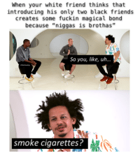 "Dank, Friends, and Meme: When your white friend thinks that  introducing his only two black friends  creates some fuckin magical bond  because ""niggas is brothas""  So you, like, uh...  smoke cigarettes? <p>smfh ok Kyle, sure, I&rsquo;ll fuckin&rsquo; meet Dequan and beat-box with him. via /r/dank_meme <a href=""http://ift.tt/2l5RpdQ"">http://ift.tt/2l5RpdQ</a></p>"