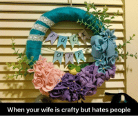 Memes, Wife, and Crafty: When your wife is crafty but hates people