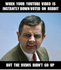 just trying to get seen on reddit be like: WHEN YOUR YOUTUBE VIDEO IS  INSTANTLY DOWN VOTED ON REDDIT  BUT THE VIEWS DIDNT GO UP just trying to get seen on reddit be like