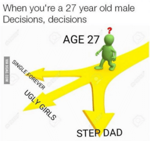 Dad, Taken, and Good: When you're a 27 year old male  Decisions, decisions  2  AGE 27  STER DAD Just like parking spots, the good ones are taken and the rest are either sh!t or disabled