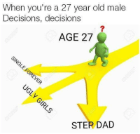 Dank, 🤖, and Dads: When you're a 27 year old male  Decisions, decisions  AGE 27  STER DAD so many choices