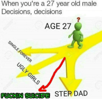 Memes, 🤖, and Dads: When you're a 27 year old male  Decisions, decisions  AGE 27  STER DAD  FUCKIN SUICIDE