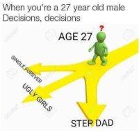 Decisions Decisions: When you're a 27 year old male  Decisions, decisions  AGE 27  STER DAD