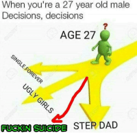 Dad, Memes, and Suicide: When you're a 27 year old male  Decisions, decisions  AGE 27  STEP DAD  FUCKIN SUICIDE Sent in by a fan.