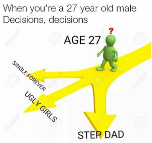 Surprisingly Crippling, yet Dank Memes: When you're a 27 year old male  Decisions, decisions  AGE 27  SINGLE FOREVER  UGLY GIRLS  eERE  STER DAD Surprisingly Crippling, yet Dank Memes