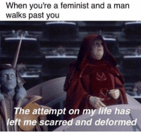 Jedi, Life, and Memes: When you're a feminist and a man  walks past you  The attempt on my life has  eft me scarred and deformed Posted by Morgan Mann in Just Jedi Memes