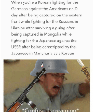 History memes: When you're a Korean fighting for the  Germans against the Americans on D-  day after being captured on the eastern  front while fighting for the Russians in  Ukraine after surviving a gulag after  being captured in Mongolia while  fighting for the Japanese against the  USSR after being conscripted by the  Japanese in Manchuria as a Korean  Confused Screamina History memes