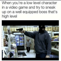Low Level: When you're a low level character  in a video game and try to sneak  up on a well equipped boss that's  high level