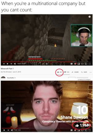 YouTube: the multi-billion dollar preschooler: When you're a multinational company but  you cant count:  16:23 / 20:42  CC  Minecraft Part 1  34,778,159 views • Jun 21, 2019  It 2M  I 31K  SHARE  E+ SAVE  PewDiePie a  u/Juanjo EL_Granjero  SCHEAM  10  Shane Dawson  Conspiracy Theories with Shane Daw  IL 1.9MD  1:03 / 5:36  CC YouTube: the multi-billion dollar preschooler