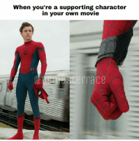 Memes, Sorry, and Movie: When you're a supporting character  in your own movie  terrace From @dcmasterrace - I'm sorry I had to 😂😂 dcmasterrace spidermanhomecoming spiderman ironman4