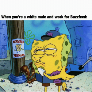 Meme, Work, and Buzzfeed: When you're a white male and work for Buzzfeed:  WANTED  MANIAG Not an Area 51 meme