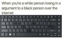 "Internet, Black, and Http: When you're a white person losing in a  argument to a black person over the  internet  F1  FIO  F11  ←Backspace  W IE  ng up  Tab  Caps Lock  CV B N M  ?  嘞 <p>Any potential in greasy keyboard? via /r/MemeEconomy <a href=""http://ift.tt/2fITj7r"">http://ift.tt/2fITj7r</a></p>"
