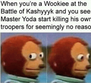 Nothing, You saw.: When you're a Wookiee at the  Battle of Kashyyyk and you see  Master Yoda start killing his owr  troopers for seemingly no reaso Nothing, You saw.
